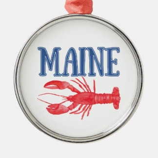 Watercolor Maine Lobster Silver-Colored Round Decoration