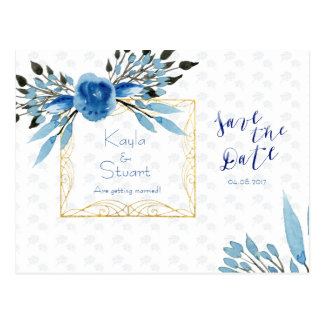 Watercolor Majestic Blue Flowers Save The Date Postcard
