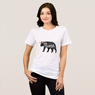Watercolor Mama Bear Flower Crown - Black Bear T-Shirt