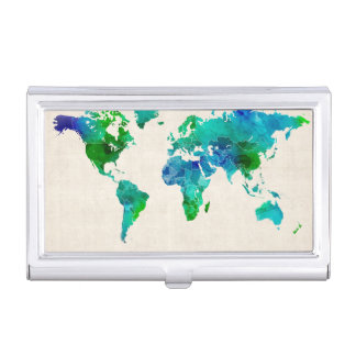 Watercolor Map of the World Map Business Card Holder