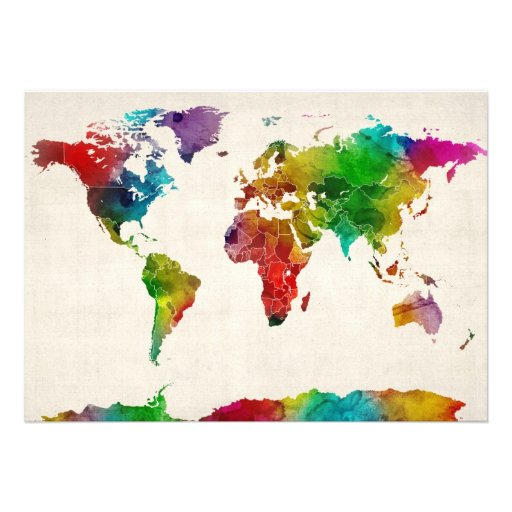 Watercolor Map of the World Map Invite