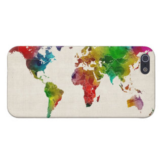 Watercolor Map of the World Map iPhone 5 Cover