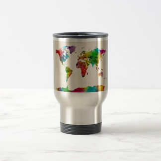 Watercolor Map of the World Map Coffee Mugs