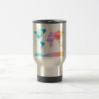 Watercolor Map of the World Map Mugs