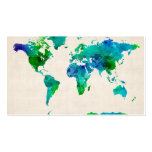 Watercolor Map of the World Map Pack Of Standard Business Cards
