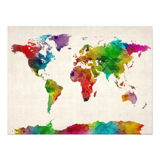 Watercolor Map of the World Map Photo Print