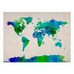 Watercolor Map of the World Map Posters