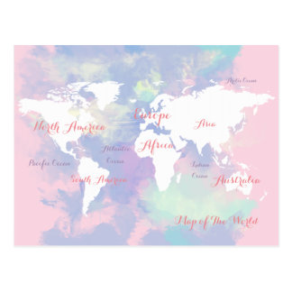 watercolor map of the world postcard