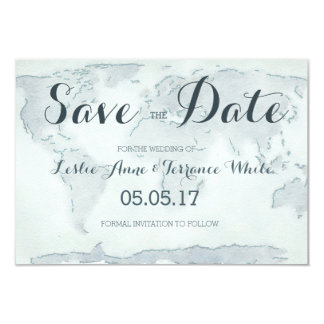 Watercolor map Save the Date 9 Cm X 13 Cm Invitation Card