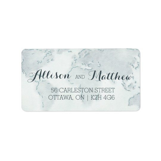Watercolor Map Wedding Address Label