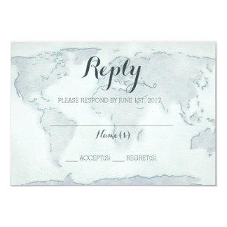 Watercolor map wedding reply card 9 cm x 13 cm invitation card