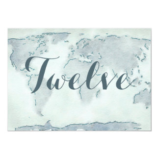 Watercolor map wedding table number 13 cm x 18 cm invitation card