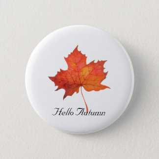 Watercolor Maple Leaf 6 Cm Round Badge