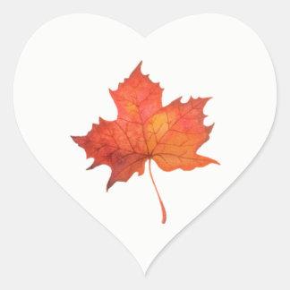 Watercolor Maple Leaf Heart Sticker