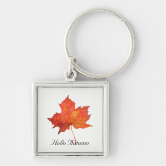 Watercolor Maple Leaf Key Ring