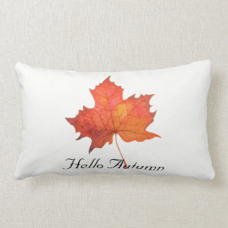 Watercolor Maple Leaf Lumbar Cushion