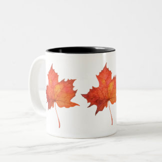 Watercolor Maple Leaf Two-Tone Coffee Mug