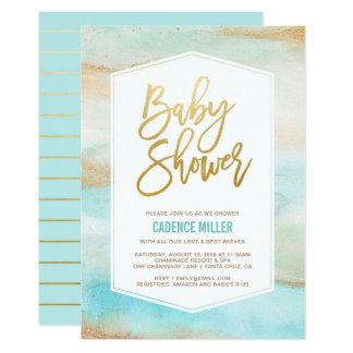 Watercolor Marble Baby Boy Shower Invitation