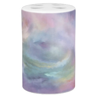 Watercolor Marble Bath | Colorful Rainbow Pastel Soap Dispenser And Toothbrush Holder