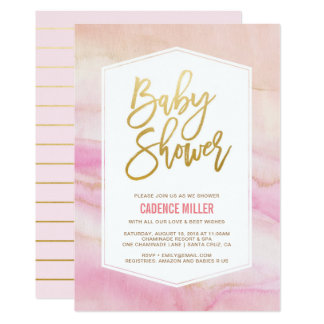 Watercolor Marble Girl Baby Shower Invitation