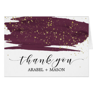 Watercolor Marsala and Gold Sparkle Thank You Card