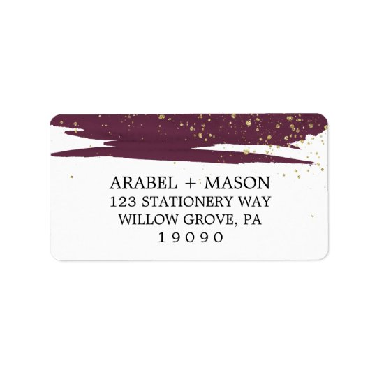 Watercolor Marsala and Gold Sparkle Wedding Address Label