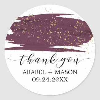 Watercolor Marsala and Gold Sparkle Wedding Favor Classic Round Sticker