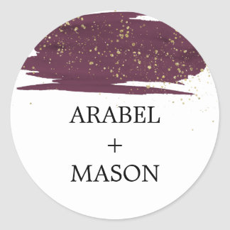 Watercolor Marsala and Gold Wedding Envelope Seal