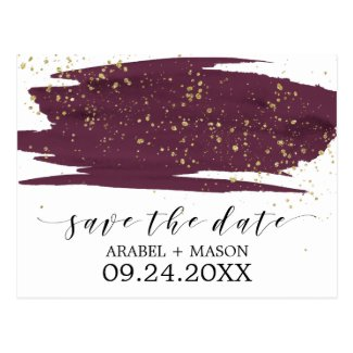 Watercolor Marsala and Gold Wedding Save the Date Postcard