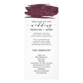 Watercolor Marsala & Gold Sparkle Wedding Program Rack Card