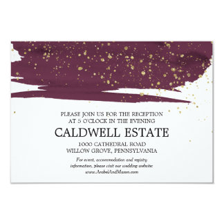 Watercolor Marsala & Gold Wedding Reception Insert Card