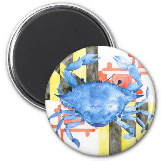 Watercolor maryland flag and blue crab 6 cm round magnet