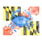 Watercolor maryland flag and blue crab postcard