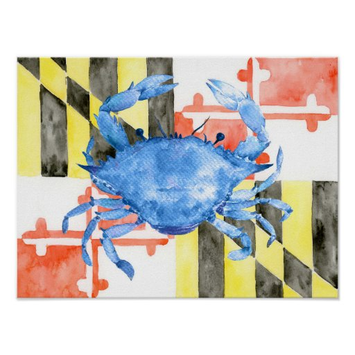 Watercolor Maryland flag and blue crab Poster