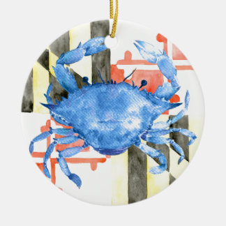 Watercolor maryland flag and blue crab round ceramic decoration