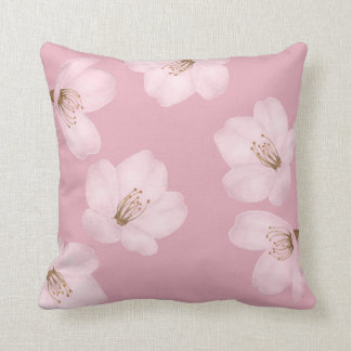 Watercolor Mauve Cherry Blossom Sakura Pillow