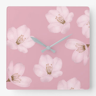 Watercolor Mauve Cherry Blossom Wall Clock