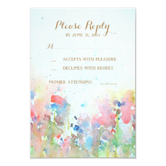 Watercolor Meadow Wedding RSVP Cards