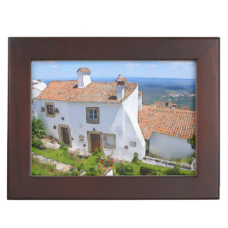 Watercolor Mediterranean house Keepsake Box