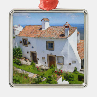 Watercolor Mediterranean house Silver-Colored Square Decoration