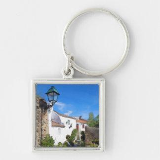 Watercolor Mediterranean village Key Ring
