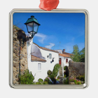 Watercolor Mediterranean village Silver-Colored Square Decoration