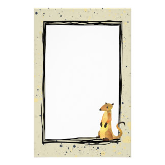 Watercolor Meerkat on a Beige Background Customised Stationery