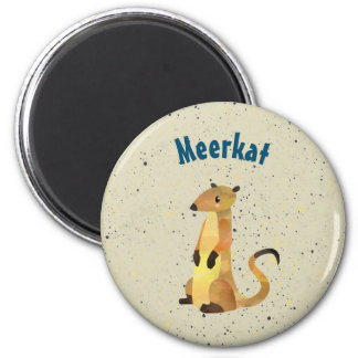 Watercolor Meerkat on a Beige Background Magnet