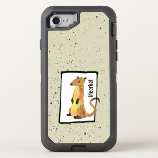 Watercolor Meerkat on a Beige Background OtterBox Defender iPhone 8/7 Case