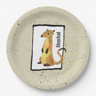 Watercolor Meerkat on a Beige Background Paper Plate