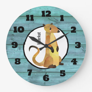 Watercolor Meerkat on a Blue Wood Background Large Clock