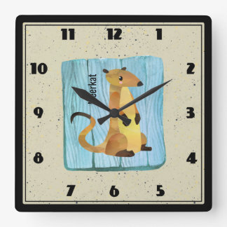 Watercolor Meerkat on a Blue Wood Background Square Wall Clock