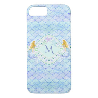 Watercolor Mermaid Starfish Fish Scale Pattern Art iPhone 8/7 Case