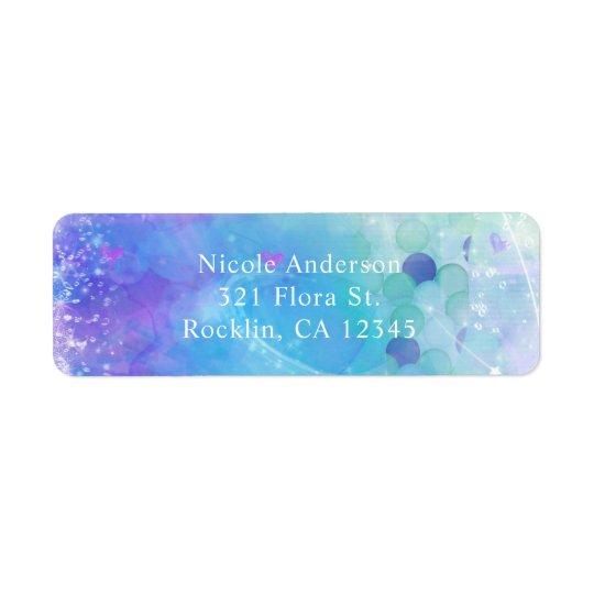 Watercolor Mermaid Tail Birthday Party Invitation Return Address Label